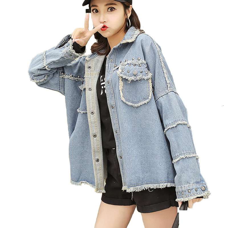 Clinker Women Denim Jas Long Mouths Weakened jeans   Jackets   Loose   Jackets   Outrunner Female Students Casual   Basic     Jacket   Woman