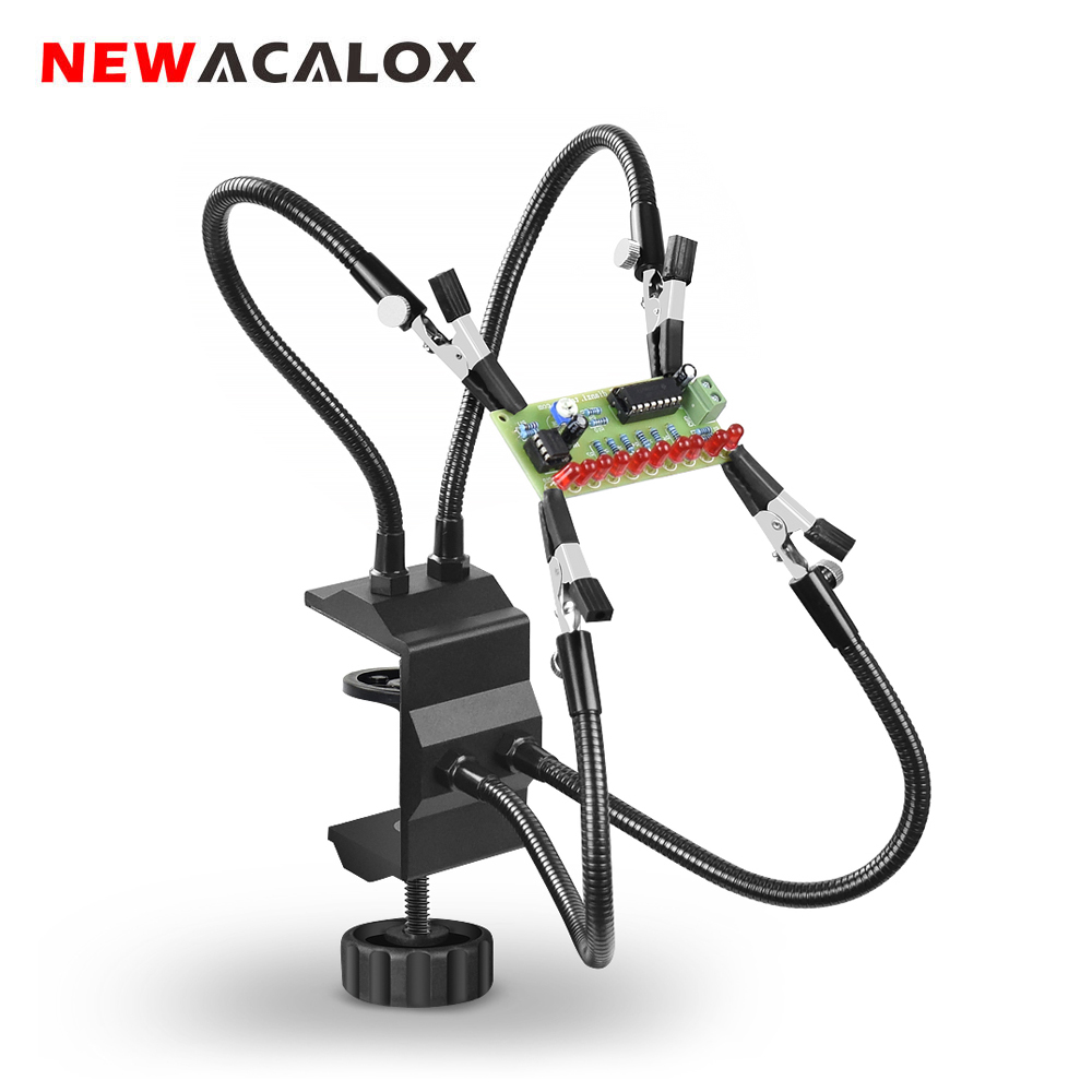 NEWACALOX Bench Vise Third Hand Soldering PCB Holder Tool Four Arms Helping Hands Crafts Jewelry Hobby Workshop Helping Station