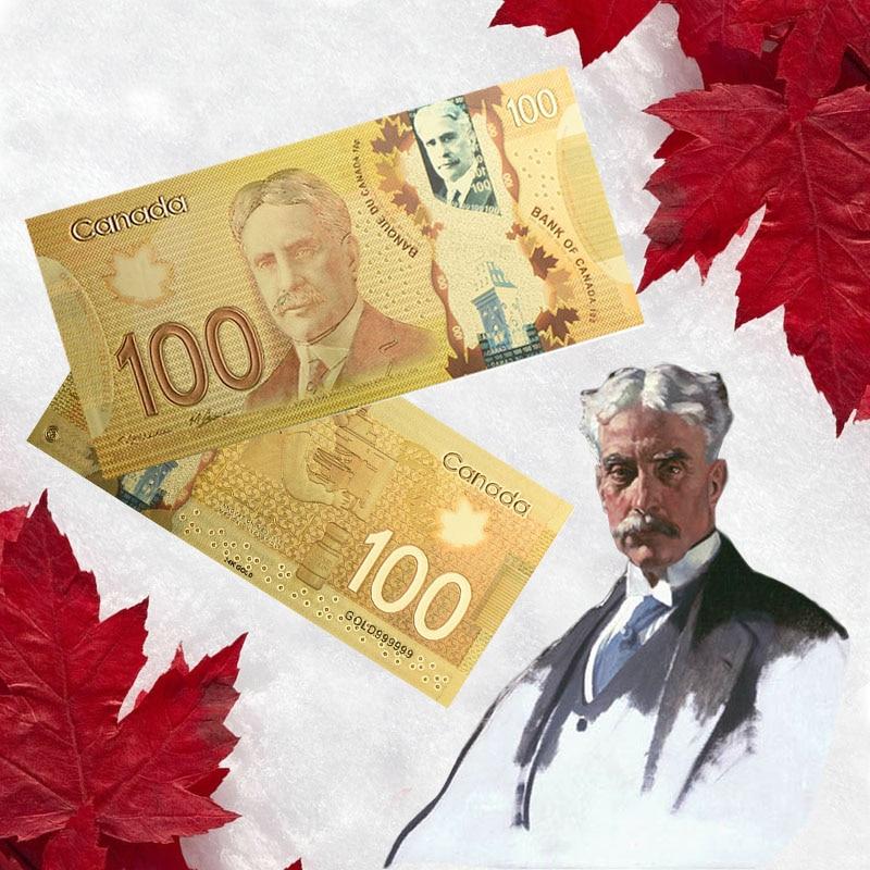 Банкноты 100 канадских долларов, банкноты из золотой фольги, банкноты