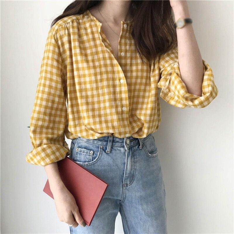Women Blouse V-Neck Long Sleeve Plaid Korean Style Cotton Sexy Tops Autumn Blouse Female Casual Shirt
