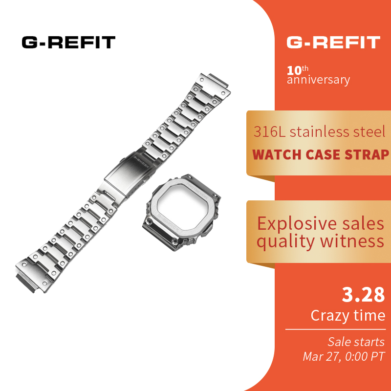 G-Refit DW5600  5610 5000 Stainless Steel Watchband  Case/bezel  DW5000 DW5035  Solid Metal Strap Free Tools