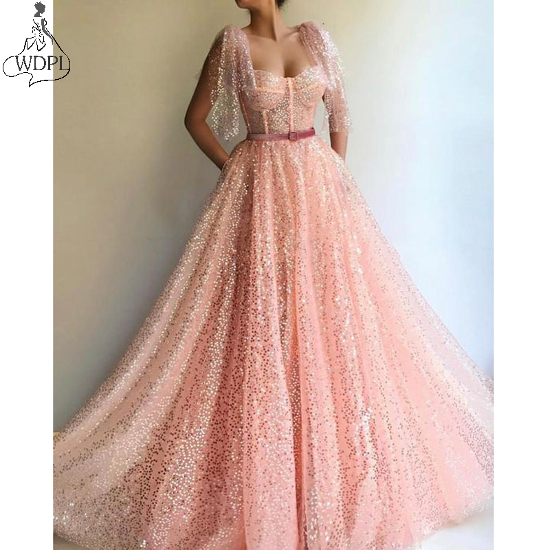 Sparkly Sequined Tulle Evening   Dress   Spaghetti Strap A Line   Prom     Dresses   Elegant Long Abendkleider Formal Gown robe de soiree