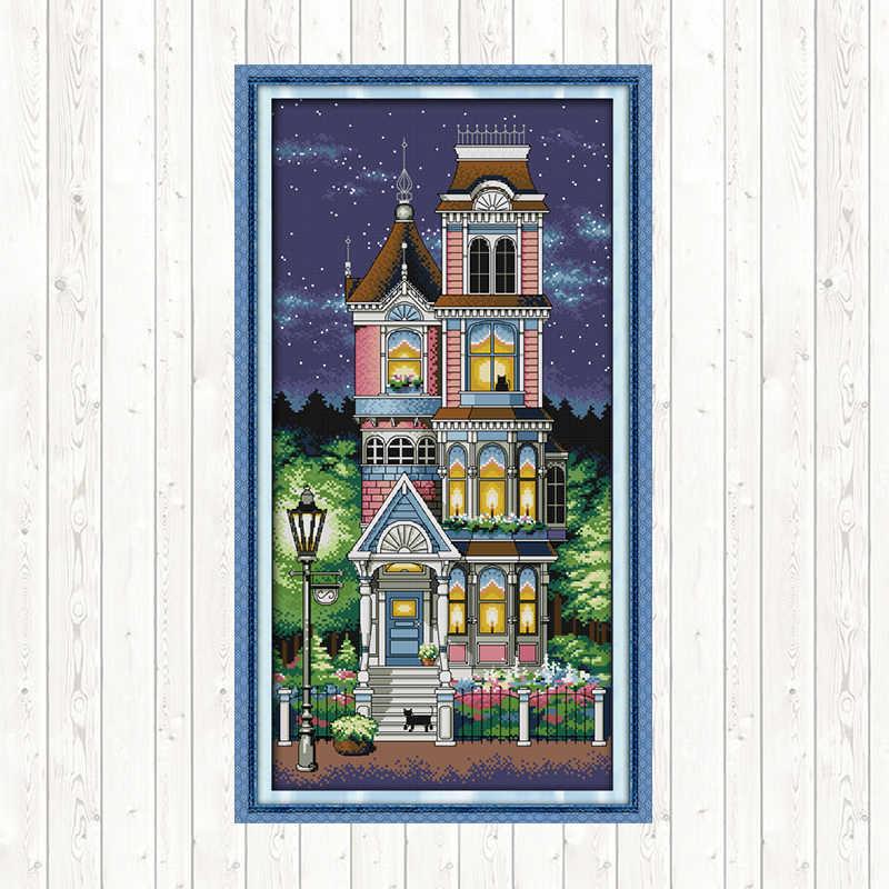 ガーデンヴィラ風景絵画カウントクロスステッチキット相田 14ct 11ct カウント印刷刺繍クロスステッチ針仕事