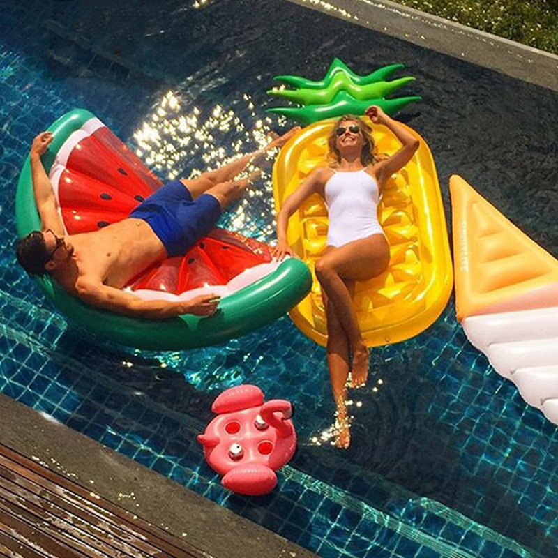 New Inflatable Sea Mattress 180cm Swimming Ring - Pineapple Watermelon Pizza Donut Pool Float Air Bed For Adult Pool Accessories