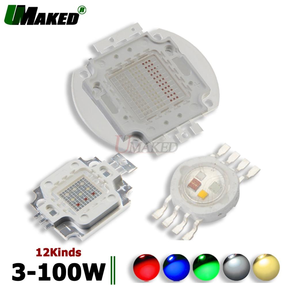 UMAKED High Power LED COB 30mil Light SMD Chips RGB RGBW RGBWW Color 1W 3W 10W 20W 30W 50W 100W LED Bulb Spotlights COB Diode