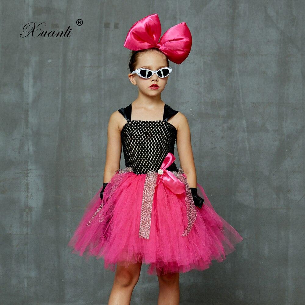 Платье-пачка для девочек с бантом, повязкой на голову, перчатками и очками, платье-пачка для рождественской вечеринки, платья принцессы