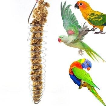 Spiral Birds Feeder, Millet Treat Fruit Holder for Parrot - Stainless Steel 3
