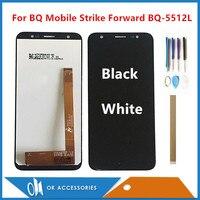"""Cep telefonları ve Telekomünikasyon Ürünleri'ten Cep Telefonu LCD'leri'de 5.45 """"BQ cep BQ 5512L Strike İleri BQ5512L lcd ekran ile dokunmatik ekran digitizer meclisi beyaz siyah araçları ile bant"""