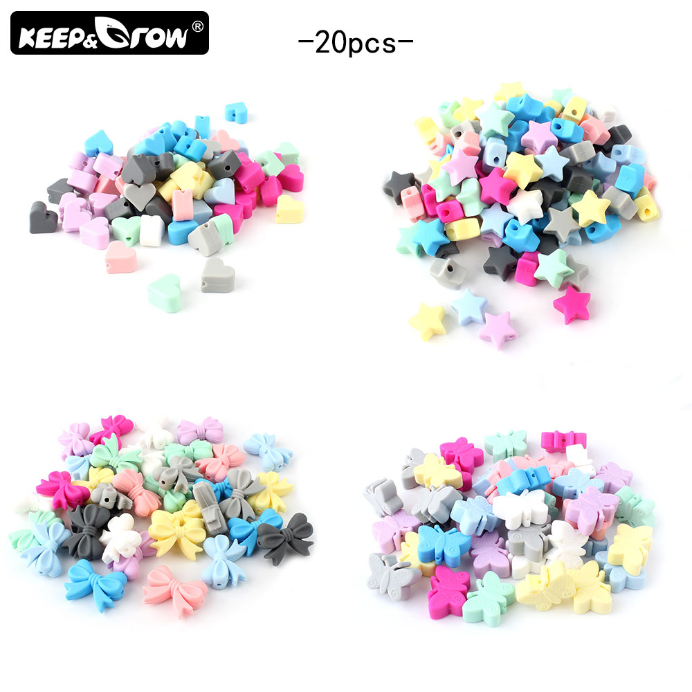 Keep&Grow 20pcs Silicone Beads Heart/Stars/Bow/Butterfly Baby Teething Beads BPA Free Silicone Teether DIY Teething Necklace Toy