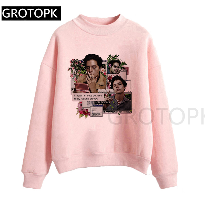 Sexy Riverdale Print Harajuku Women Hooded Funny Design Hooded Pink Lady Hoody Tumblr Ulzzang Sweatershirt Funny Top Gothic