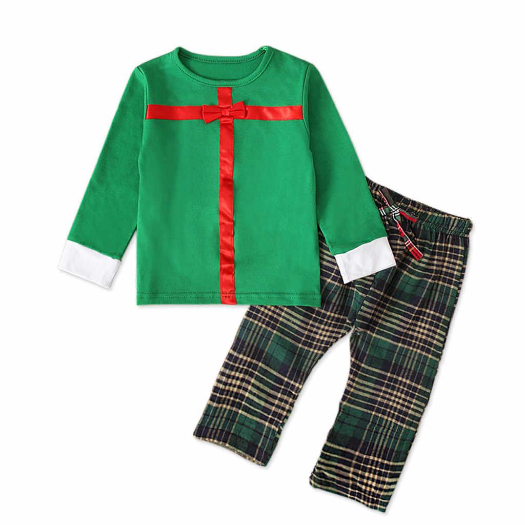 Bebê recém-nascido Da Menina do Menino Roupas Definir 2pcs Presente de Natal de Santa Tops Sólidos Blusa Xadrez Calças Roupas Conjunto Infantil Menino