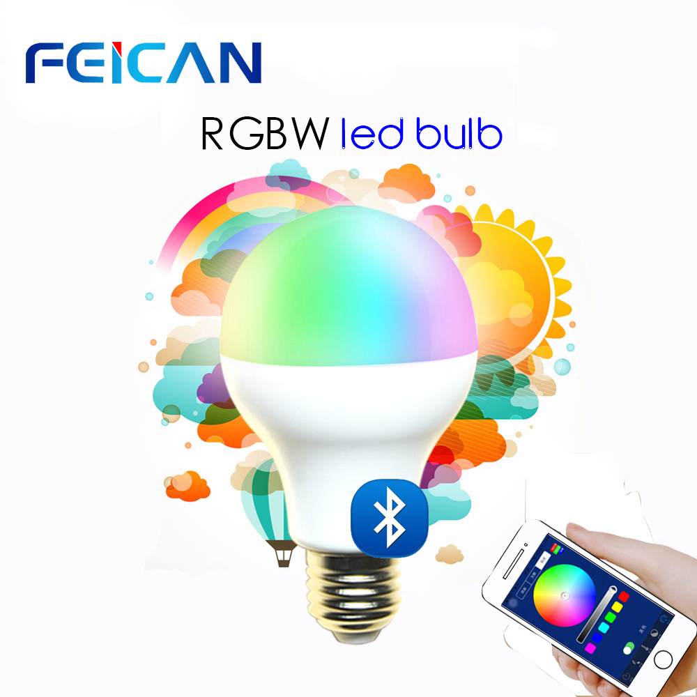 FEICAN Bluetooth LED Lamp Dimmable LED bulbs E27 Light AC85 240V 7W 9W RGBW Bulb Smart Lighting Bluetooth 4 0 Lamp Color Change in LED Bulbs Tubes from Lights Lighting