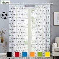 YokiSTG-cortinas transparentes estampadas de fútbol negro para ventana, tul, cortinas para sala de estar, dormitorio, cocina, habitación de niños, decoración del hogar