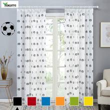 Yokistg черные прозрачные шторы с футбольным принтом занавески