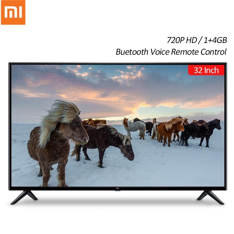 Xiaomi TV Mi Smart TV 4S 32 pulgadas 720P HD Android 1 + 4GB Smart TV televisión chino versión de bluetooth Control remoto por voz Cargador inteligente de batería MiBoxer C4 doble AA Max 2.5A/ranura Super rápido 18650 14500 26650 función de carga de descarga