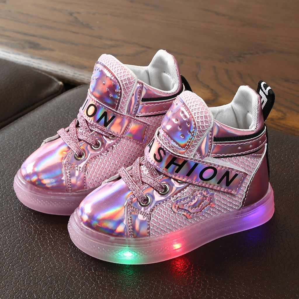 Kids Shoes Baby Girls Bling Led Shoes Luminous Sport Sneakers Short Boots Booties Shoes Baby Sneakers Zapatos Tenis Infantil