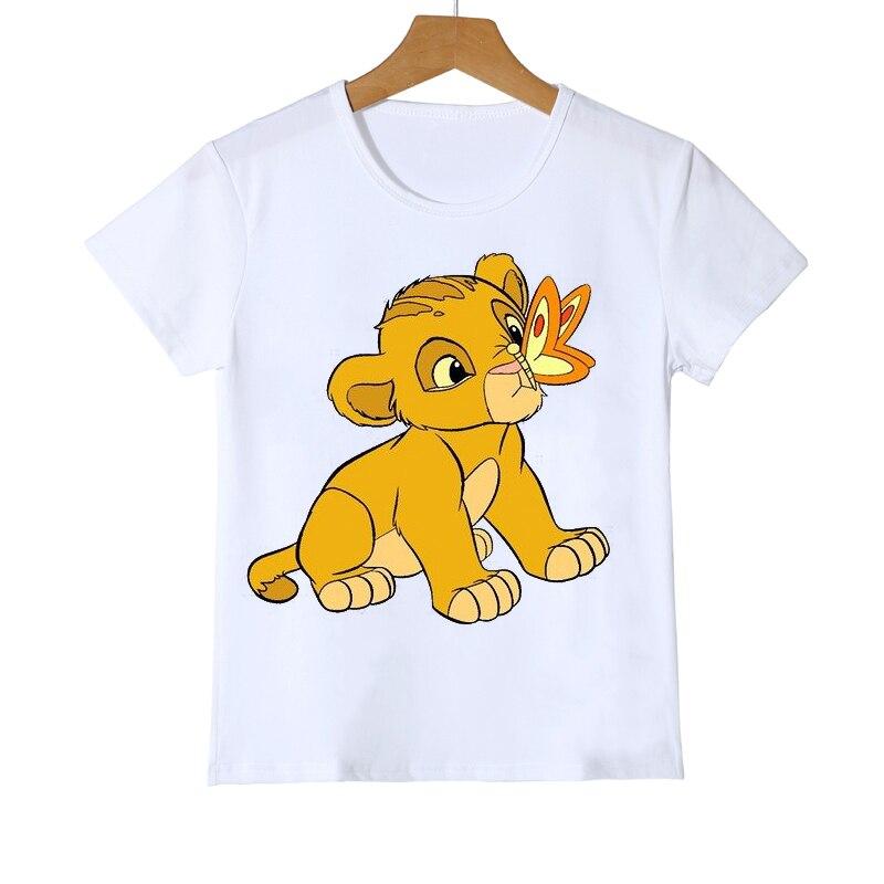 Детская одежда, футболка с милым мультяшным принтом короля льва для девочек и мальчиков, детская одежда с забавными животными, детские летн...