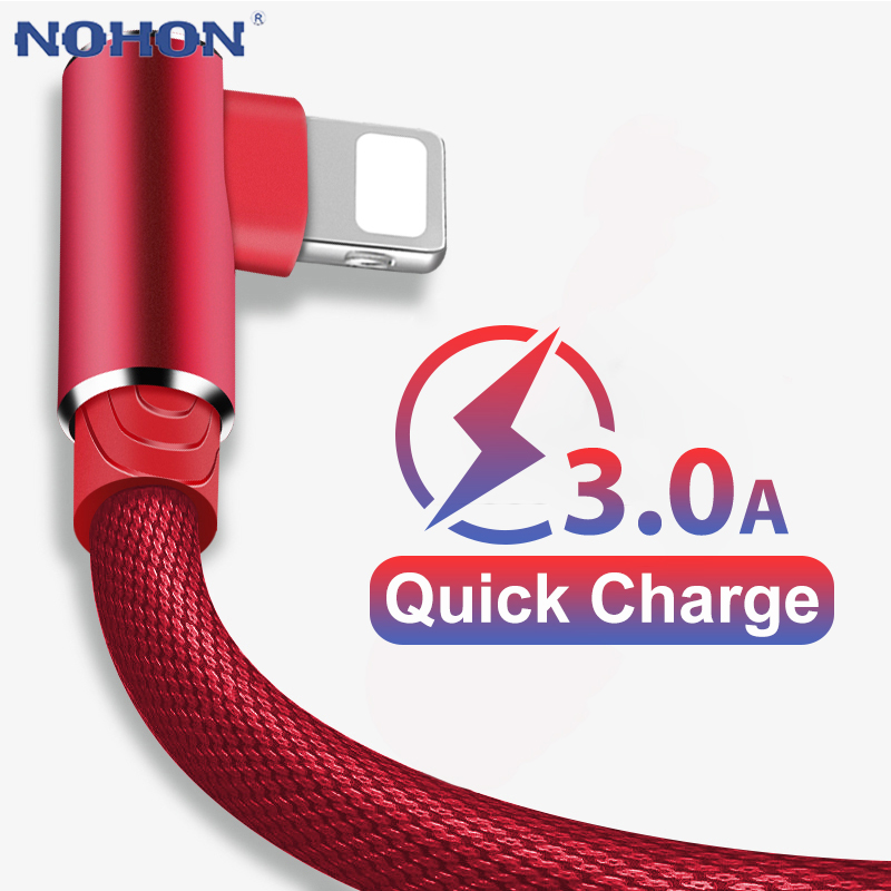 90 Degree Elbow Fast Charge Charger USB Cable For iPhone 6 6s 7 8 X XS 11 Pro MAX 5 5S SE iPad Origin Cord Wire iPhon Cable 3m 1