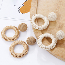AMORCOME Simple Raffia Round Drop Dangle Earring Handmade Rattan Straw Braid Earrings For Women Party Jewelry Accessories