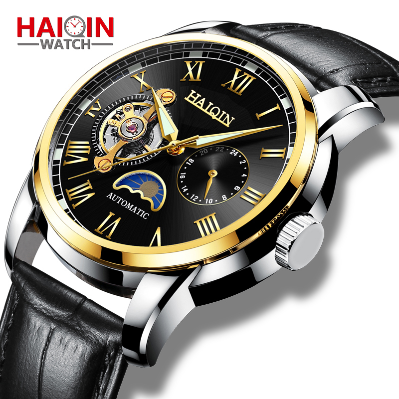 New Fashion Mechanical HAIQIN Men's <font><b>Watches</b></font> Top Brand Luxury Business Military Sports Wristwatch Waterproof Leather reloj hombre image