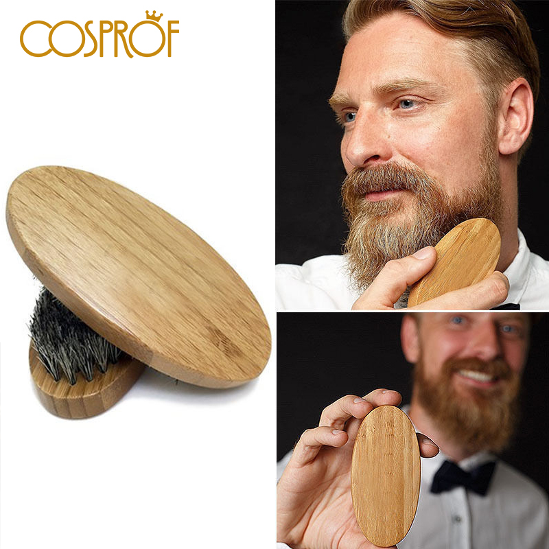 Natural Boar Bristle Beard Brush For Men Bamboo Face Massage To Comb Beards And Mustache Facial Hair Clean Tool