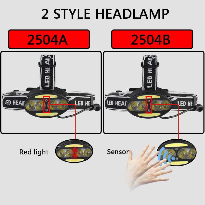 A maioria de potência led farol 4 * xml-t6 + 2 * cob farol 8000 lúmen cabeça lâmpada sensor interruptor luz lanterna 18650 bateria para acampar