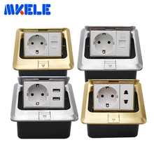 EU Floor Socket USB Charging Port Phone RJ45 Computer Aluminum Alloy Silver Waterproof Panel Copper Gold Pop Up Ground Plug 16A the new plug in the whole copper waterproof floor socket ground socket damping buffer audio and video to plug