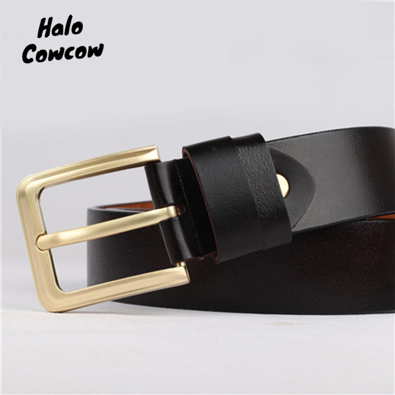 105 130 140 150 160 170 Large Size Mens Belt Real Genuine Leather Men Belts For Men Gold Pin Buckle Luxury Brand Waistband Belt