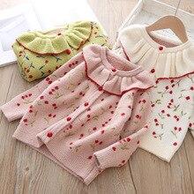 Ребенок дети девочка свитер однотонный открытый стежок свитер пуловер для девочек весна осень верхняя одежда