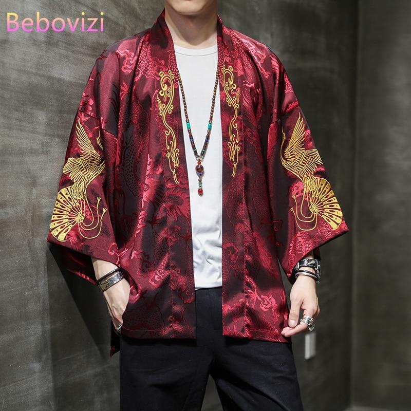 Кимоно с вышивкой в японском стиле Харадзюку для мужчин и женщин, кардиган белого и красного цветов, хаори Оби, азиатская одежда, осень-весна...