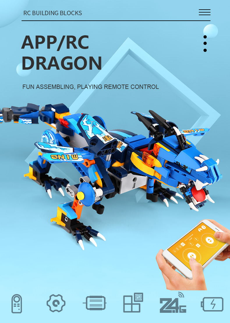 MOULD KING 13018 Compatible 70602 RC Technic Ninjaoes Dragon Knight Building Block 1