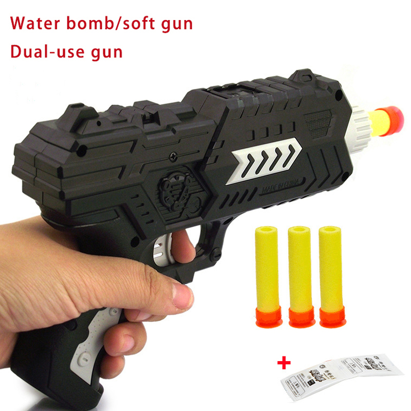 Cool Paintball Soft Water EVA Bullet Bomb Toy Gun Dual purpose Pistol Bursts of Crystal Shooting Toy Outdoor Juguete Gun 780 in Toy Guns from Toys Hobbies