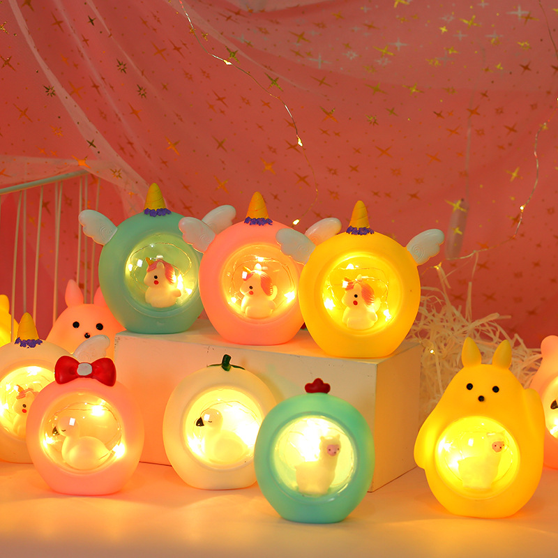 2020 New Cute Unicorn Stars Bear Appease Glow Night Light Feeding Light Baby Sleeping Toy Kids Christmas Gifts For New Year