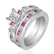 Комплект колец carofeez женский из розового/белого фианита ААА