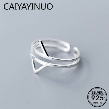 CAIYAYINU Real 925 Sterling Silver Geometric Hollow Triangle Opening Ring For Gorgeous Women Party Chic Hiphop Gift Fine Jewelry