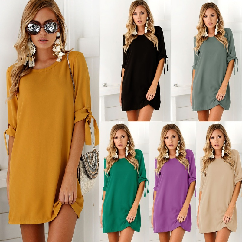 Summer Plus Size Loose O-Neck Women's Dress For Pregnant Women Female Women's Clothing Five-point Sleeve Breathable