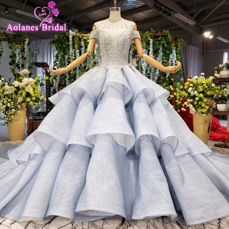 Luxury Bling Wedding Dress 2019 Gray Sweetheart Ball Gown Puffy Dubai Arabic Crystal Wedding Gowns Vestidos De Novia Big Heavy
