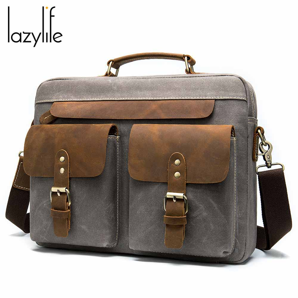 LAZYLIFE Men Genuine Leather Briefcase Business Handbag Messenger Bags Male Shoulder Bag Men's Large Laptop Travel Bags