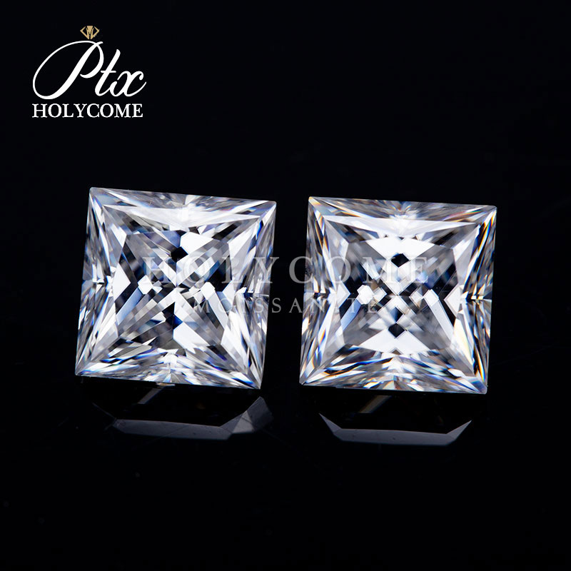6.5x6.5mm DEF VVS1 Wholesale White color square princess cut loose moissanite gemstone for diamond ring 2020news free carving