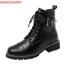 2020 brytyjskie krótkie buty jesienne nowe buty damskie koronka na pięcie damskie buty europejskie i amerykańskie buty motocyklowe tanie tanio NAKKESHMEN CN (pochodzenie) Mikrofibra ANKLE zipper Stałe Plac heel Cotton Fabric Okrągły nosek Wiosna jesień RUBBER