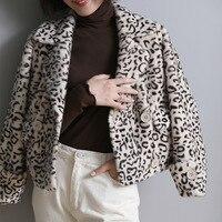 Real Mink Fur Short Jackets Coats Women Leopard Print Fashion Winter Warm Natural Genuine Fur Ladies Overcoat Outwear Female