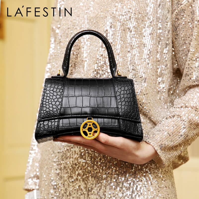 LAFESTIN 2019, новая мода, Крокодиловая текстура, кожа, песочные часы, сумка, темперамент, женская сумка, сумка через плечо, сумка-мессенджер