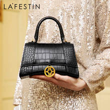 LAFESTIN 2019 New Fashion Crocodile Texture Leather Hourglass Bag Temperament Woman Handbag