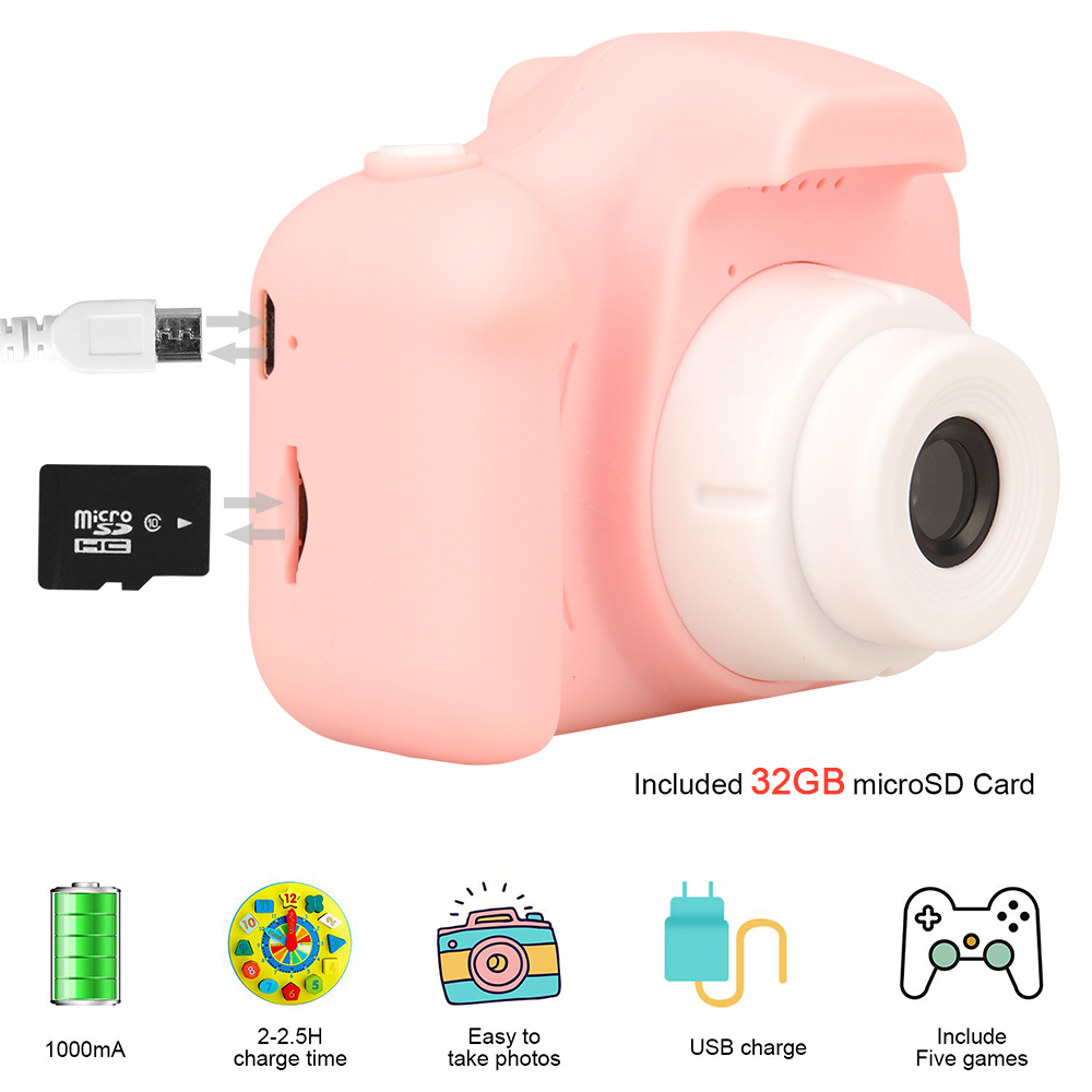 New Arrive Hot Sale Mini Children's Camera Rechargeable Pink Photo Video Playback 32 GB Kids Toys Child Girl Birthday Present 2