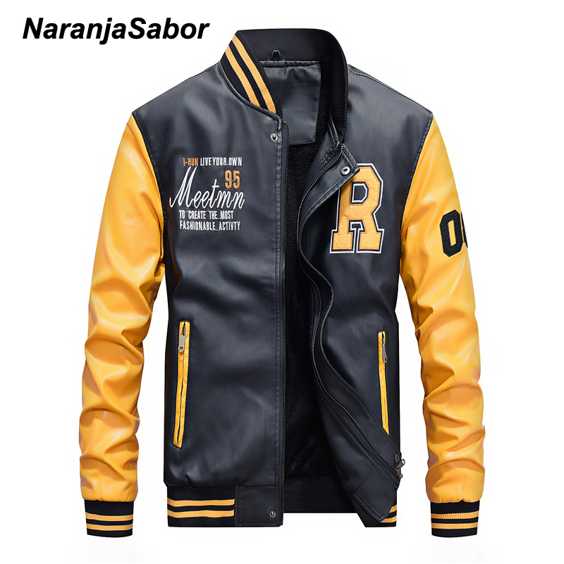 NaranjaSabor Men's PU Jacket Male Winter Autumn Leather Coat Mens Baseball Collar Embroidered Leather Jacket Fashion Slim N570