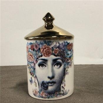 Lady Face Candle Holder Human Face Jar Candelabra Retro Storage Bin Ceramic Cafts Home Decoration Jewerlly Storage Box 20
