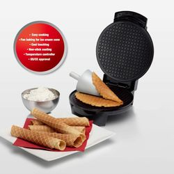 Electric Ice Cream Waffle Cone Maker Bake Machine Stainless Steel Nonstick Housewares Personal Double-sided Heating