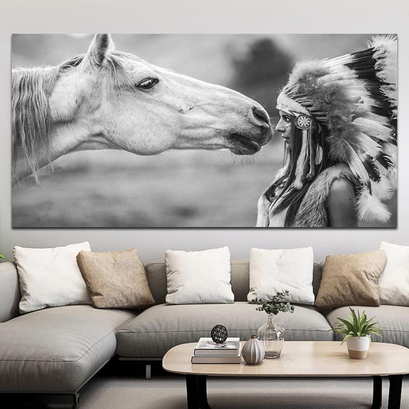 Черно-белый девушка с живопись на холсте с изображением лошади портретный плакат и отпечатки домашнего декора для Гостиная живопись