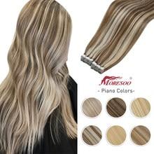 Moresoo 7 cores fita na extensão do cabelo humano destacado 14-24 polegada máquina de trama da pele remy em linha reta loira natural brasileiro