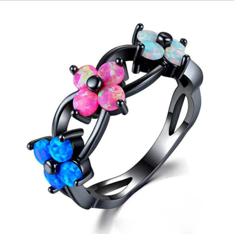 Neue Europäische und Amerikanische Mode Opal Stein Ring Schwarz Gold Opal Design Kreative Blume Ring Weiblichen Schmuck Großhandel